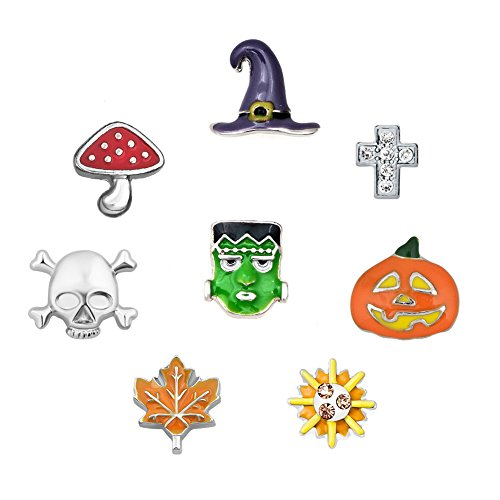 (Q&Locket 8pcs Halloween Skull Pumpkin Dia De Los Floating Charms Set Fit Living Memory Locket Necklace)