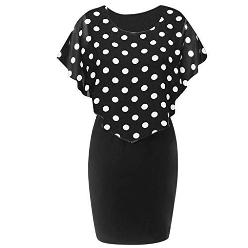HAPPYSTORE Women Dresses Summer Plus Size Rose African Print Chiffon O-Neck Ruffles Mini Skirt]()