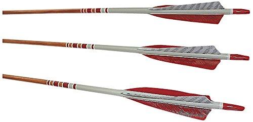 Rose City Archery Port Orford Cedar Hunter Elite Arrows with 5-Inch Length Shield Cut Fletch (12-Pack), Mahogany Stain Shaft, 11/32-Inch Diameter/55-60-Pound Spine