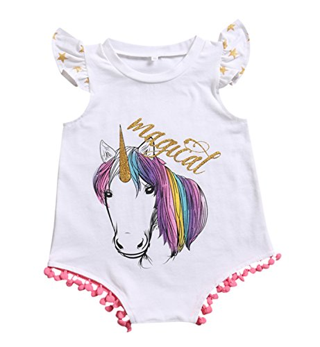 Rush Dance Boutique Girls Birthday Celebration Unicorn Horse Outfit (100 (18-24 Months), Unicorn Romper with Pink Pom Pom)