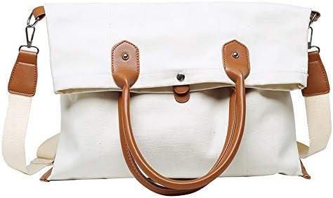 日本と韓国風のキャンバスバッグの女性の の同じスタイルの大容量バッグトートバッグキャンバスバッグの女性のショルダーバッグスタイルのメッセンジャーバッグハンドバッグハンドバッグバッグシンプルな学生 (Color : White)