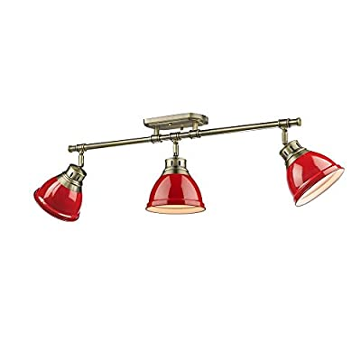 Golden Lighting 3602-3SF AB-RD Duncan - Three Light Semi-Flush Mount, Aged Brass Finish with Red Shade