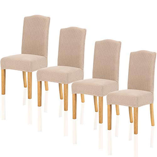 TIANSHU Stretch Chair Cover for Home Decor Dining Chair Slipcover (4 Pack, Sand)