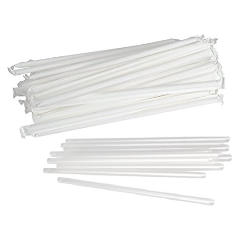 SafePro STRC, 7.75-Inch Clear Individually Wrapped Jambo Stirrers, Disposable Cocktail Cold Beverage Plastic Drinking Straws (100)