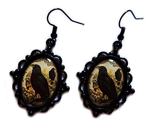 Moon Maiden Jewelry Black Framed Crow Cameo Earrings (Cameo Framed Earrings)