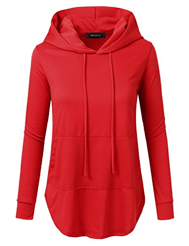 (Doublju Womens Casual Lightweight Long Sleeve Pullover Hoodie with Plus Sizes RED 2X)