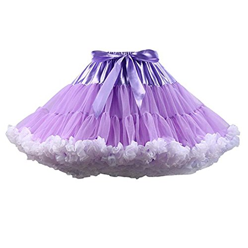 SCFL adulto de lujo suave de la gasa de la enagua de tul falda del tutú de las mujeres del tutú del ballet del traje de la danza de múltiples capas de la enagua de la falda hinchada Purlewhite