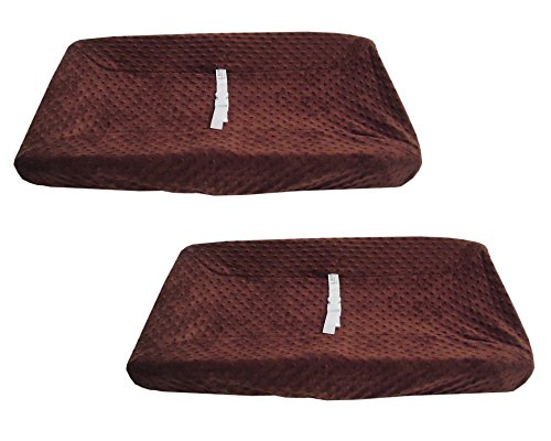 BH Bedding Heavenly Soft Minky Dot Contoured Changing Table Cover, 2 Pack, Chocolate Puff - Chenille Contoured Changing Table Cover