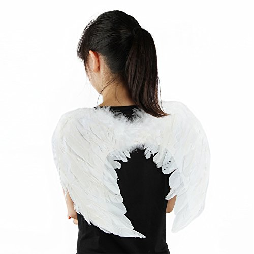 Small Angel Wings Costume (Small White Angel Feather Wings Costume 18 by 12 Inch)