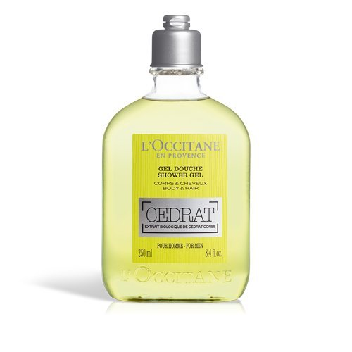 L'Occitane Men's Invigorating Cedrat Shower Gel for Body & Hair, 8.4 Fl Oz