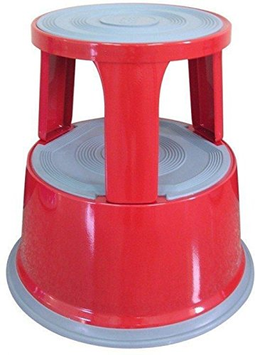 Janrax Red Metal Step Kick Stool - Retail Warehouse Heavy Duty 150kg Capacity