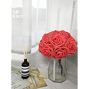 D-Seven Artificial Flowers 30PCS Real Looking Fake Roses with Stem for DIY Wedding Bouquets Centerpieces Party Baby Shower Home Decorations (Coral) 3
