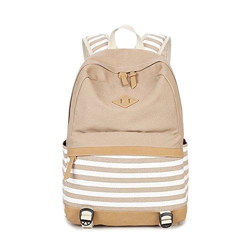 Rayas Casual lona portátil bolso escolar mochila ligera mochilas para niñas adolescentes (Púrpura) Caqui