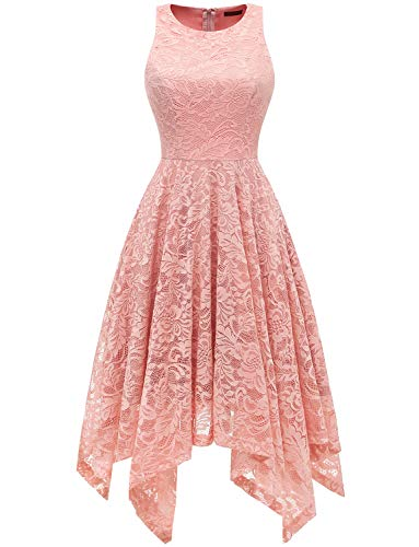 (Bridesmay Women's Boatneck Sleeveless Elegant Floral Lace Asymmetrical Hanky Hem Cocktail Party Midi Dress Blush L)