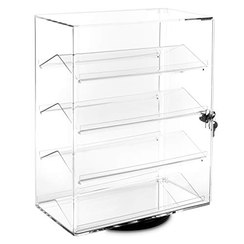 MOOCA Lockable Showcase Rotating Acrylic Display Stand with 4 Removable Shelves ()