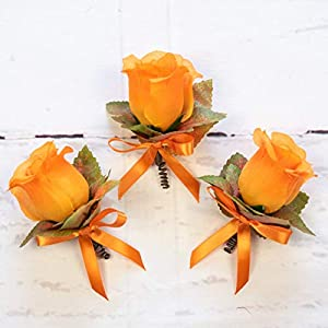 4 pcs Orange Silk Rose Boutonniere with Fall Maple Leaves - Autumn Wedding Flowers 3