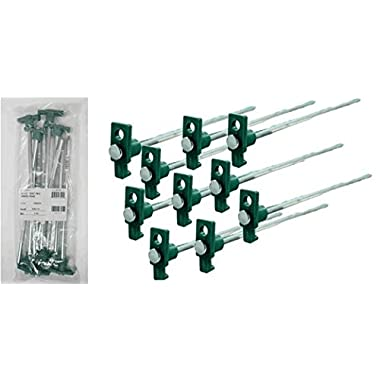 SE 9NRC10 Galvanized Non-Rust Tent Peg Stakes with Green Stopper (Pack of 10)