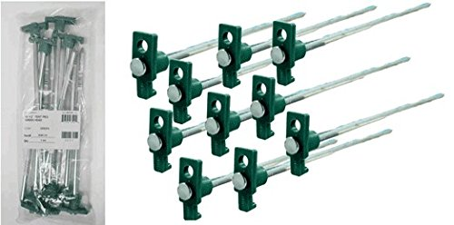 SE 9NRC10 Set of 10 Galvanized Non-Rust Heavy Duty Metal Tent Pegs Stakes with Green Stopper by SE