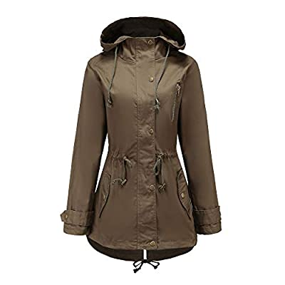 NUWFOR Parka Hoodie Women Hoodie Coat Long,Thick Warm Button Overcoat Outwear for Winter/Fall White