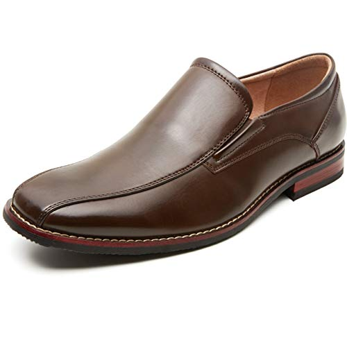 ZRIANG Men's Dress Loafers Formal Leather Lined Slip-on Shoes (11 M US, Brown) (Best Leather Dress Shoes)