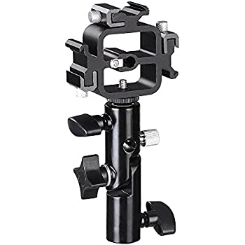 Triple Hot Shoe Mount Adapter Flash Light Stand Umbrella Holder Bracket Swivel