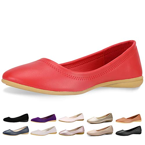 - CINAK Flats Shoes Women- Slip-on Ballet Comfort Walking Classic Round Toe Shoes (11 B(M) US/ CN43/ 10.4'', Red)
