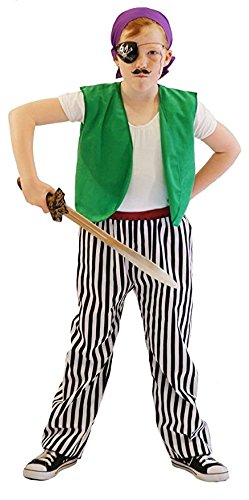 World Book Day-Neverland-Pan BUDGET PIRATE Child's Fancy Dress Costume - All Ages (AGE 7-8)