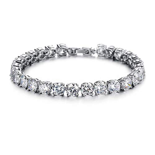 Feraco Tennis Bracelet Platinum Crystal Jewelry Round-Cut Cubic Zirconia Bangle for Valentines Gift,7.4inch