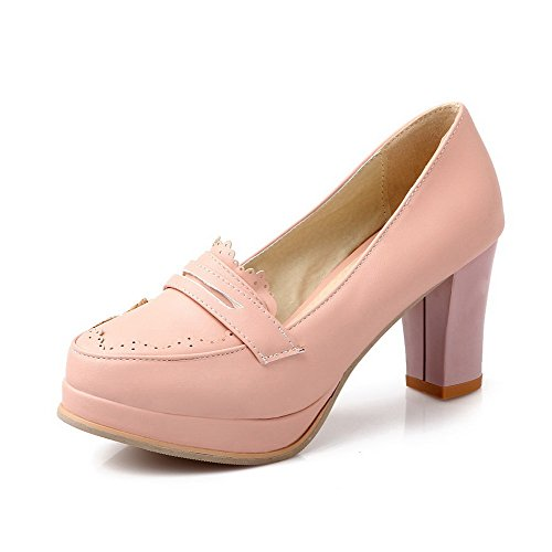 Allhqfashion Womens High Heels Solide Pull-on Ronde Closed-teen Pumps-shoes Pink