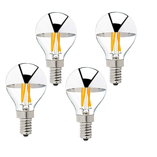 (G45 G14 4W Silver Tipped LED Filament Globe Bulb E12 Candelabra LED Bulb 40 Watt Equivalent 2700K Warm White Dimmable Edison Bulb, 4Pack )