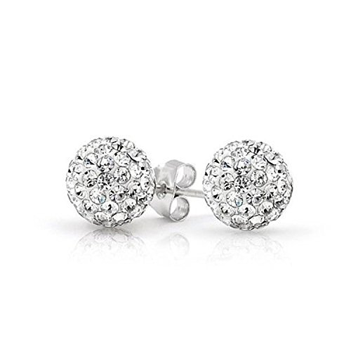 Solid 925 Sterling Silver Simulated White Clear Bead Crystal Disco Ball Stud Post Earrings 6mm 8mm 10mm Gift - Sterling Silver Pave Crystal