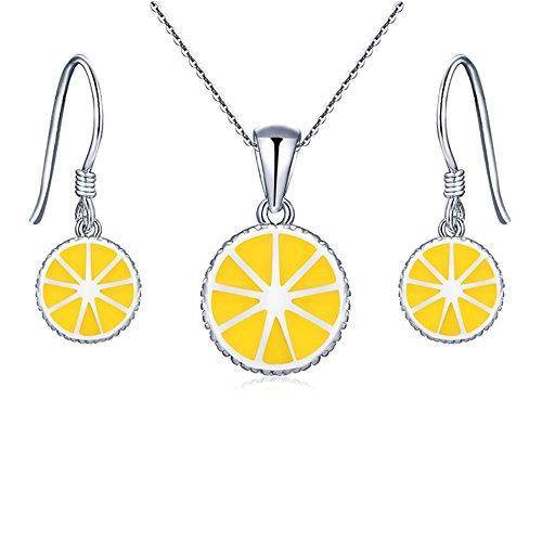 Lemon Enamel - Sterling Silver Enamel Lemon Necklace Earrings Jewelry Sets