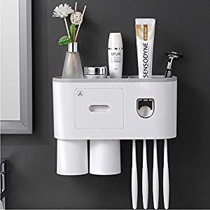 Electric Toothbrush Holder for Bathroom 4 Cups Easy to Install with Drawer for Floss Conworld Toothbrush Holder Wall Mounted with Large Capacity