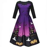 kaifongfu Women Dress,Three Quarter Halloween Printing Evening Party Prom Swing Dress(Purple,L)