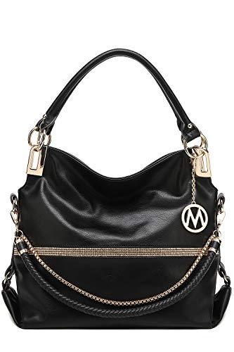 MKF Hobo Crossbody Bag for Women - Satchel Shoulder Handbag - Vegan Leather Top Handle Purse Removable Strap Black