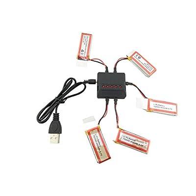 sea jump 5pcs 3.7V 450mAh Battery and Charger for UDI U27 U941 U941A U841 U843 U842 FPV U28-1 D20 Transmitter RC Quadcopter Drone Spare Parts: Toys & Games
