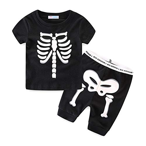 UWESPRING Toddler Boys T-Shirt Shorts Sets Glow Skeleton Short Sleeve Size 4T Black]()