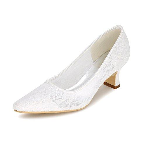 L@YC Frauen Hochzeitsschuhe / Spitze Punkte Toe Wohnung abend Hochzeit / Party & Multi-Color Large Size White