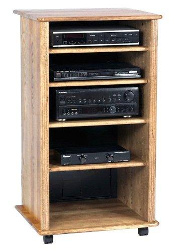 Wood Technology Solid Hardwood Audio Rack Cabinet In Oak Finish