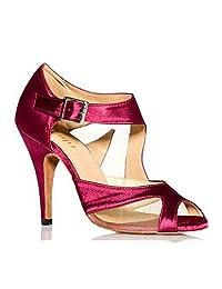Women's Latin Dance Shoes Satin Ballroom Dancing Shoes Salsa Party Square Shoes 6-10cm High Heels Plus Size
