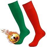 High Football Socks, 3street Unisex Adult Knee-High Solid Sport Athletic Football Soccer Tube Socks Red Green 2-Pair