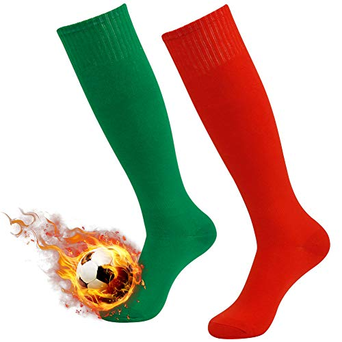 High Football Socks, 3street Unisex Adult Knee-High Solid Sport Athletic Football Soccer Tube Socks Red Green 2-Pair]()