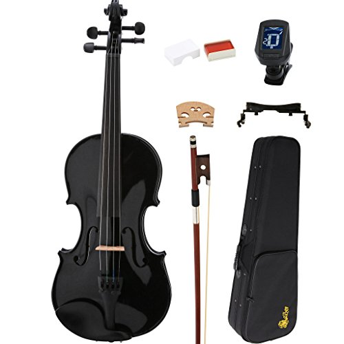 Kaizer Violin Acoustic Full Size 4/4 Black Varnished VLN-1000BK-4/4-TNR by Kaizer