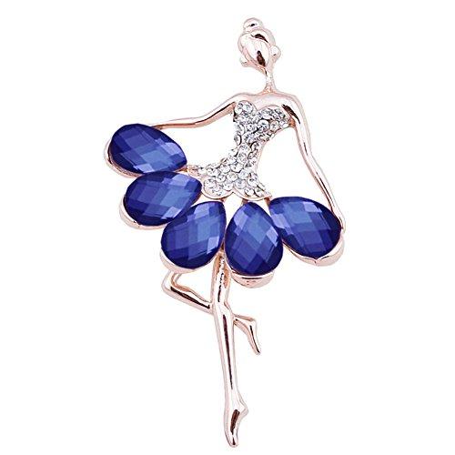 """Rhinestone Heart Brooch - Gold Tone Vintage Fancy """"Ballet Girl"""" Tear Drop Crystal Rhinestone Brooch Pin for Women (Blue Dress Dancing Girl)"""