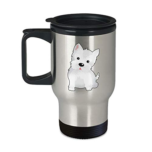 (Westie Lover Gift - Cute Animal Face Designs - 14oz Coffee | Tea Travel Mug)