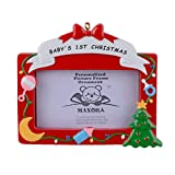 MAXORA Baby's 1st Christmas Red Picture Frame Personalized Christmas Ornament
