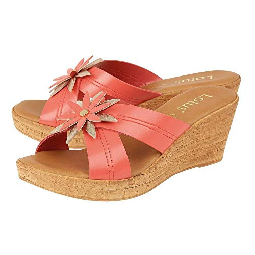 faa39fc98aef9 Lotus Japonica Coral & Pink Wedge Sandals: Amazon.co.uk: Shoes & Bags