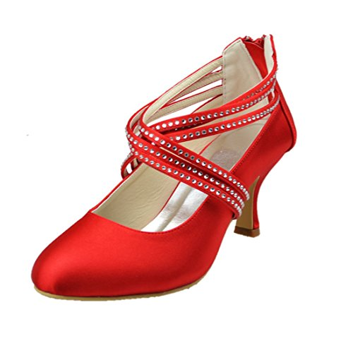 Minishion Mujeres Med Heel Cerrada Punta Del Satén Evening Party Nupcial Cristales De La Boda Zapatos Red-6cm Talón