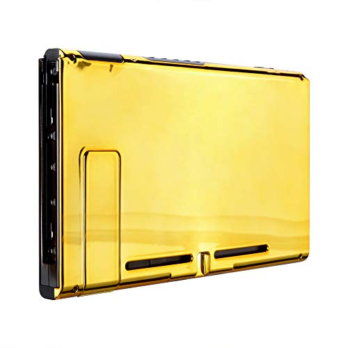 eXtremeRate Chrome Gold Console Back Plate DIY Replacement Housing Shell Case for Nintendo Switch Console with Kickstand – JoyCon Shell NOT Included ()