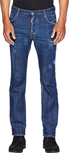 Dsquared2 Men Pants - DSQUARED2 Men's Dark Simple Cropped Flare Jeans Blue 52